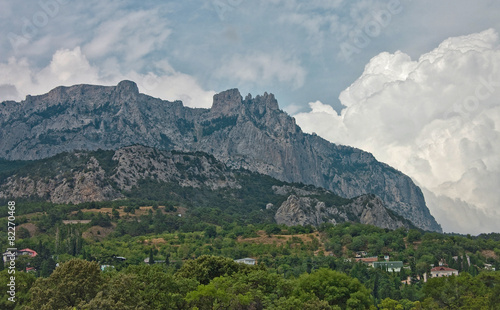 Crimea mountains. Dramatic summer sky with clouds © den-belitsky