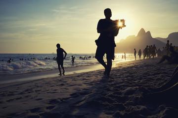 Ipanema Beach Rio Caipirinha Sunset Silhouettes