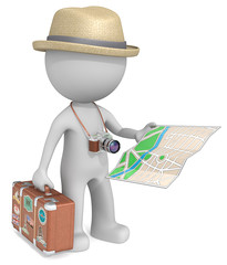 The Tourist.Dude 3D character,Suitcase,post-retro SLR Camera,Map