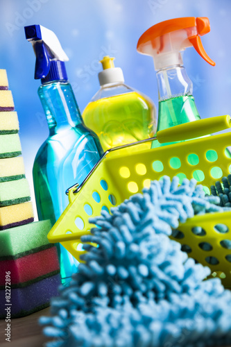 Leinwandbild Motiv Variety of cleaning products, home work colorful theme