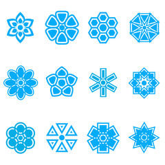 Set of flower flat icons design