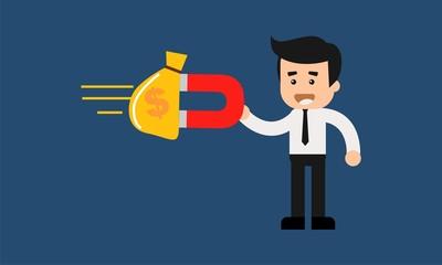 Cartoon character money magnet of businessman