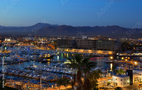canvas print picture Los Cabos, Mexico night view from above