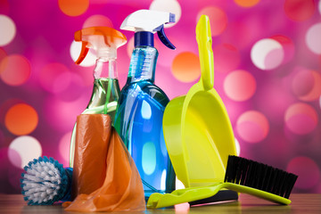 Set of cleaning products, home work colorful theme