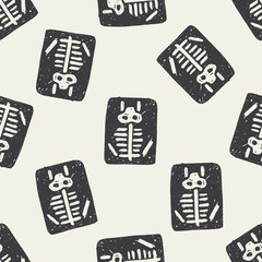 x-ray doodle seamless pattern background