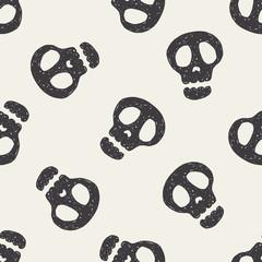 Doodle Skull seamless pattern background