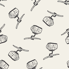 cable car doodle seamless pattern background