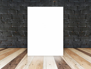 paper poster on the black brick wall and tropical wood floor,tem