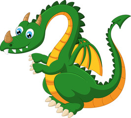 Carrtoon funny green dragon