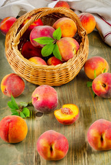 fresh peaches in basket