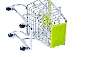 cropped fall down shopping trolley, isolated on white background
