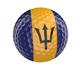 Golf ball 3D render with flag of Barbados, isolated on white