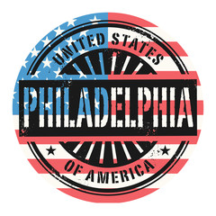 Stamp with the text United States of America, Philadelphia