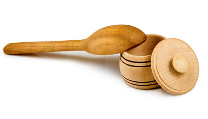 wooden spoon and a bowl on a white background