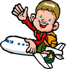 飛行機に乗る子供