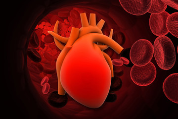 3d render of Heart with red cells.