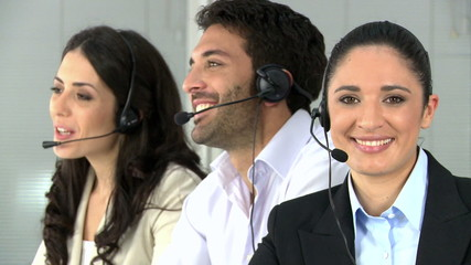 Happy woman at call center