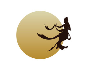 Goddess Floating around the Moon