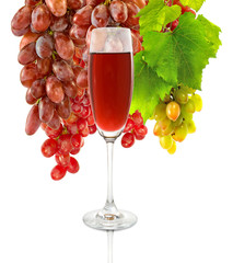 image of a glass of wine and grapes