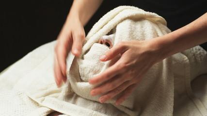 woman getting a spa treatment