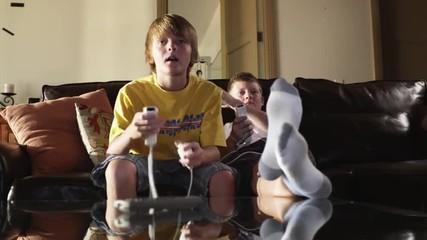 MS Two boys (12-13) playing computer game, American Fork, Utah, USA