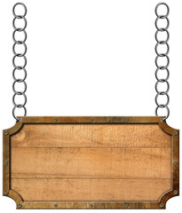 Wood and Metal Sign with Chain