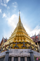 Temple of the Emerald Buddha, landmark in Bangkok Thailand