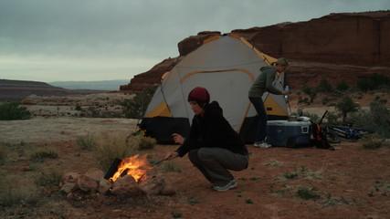 two women camping