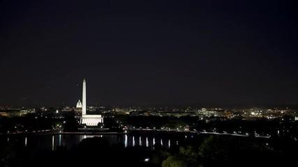 WS T/L Washington Mall illuminated at night/ Washington D.C, USA