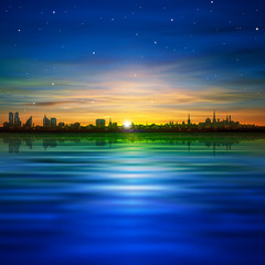 abstract background with panorama of city and sunrise