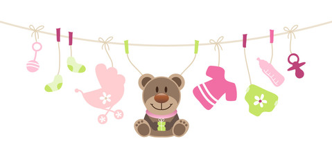 Girl Baby Symbols Teddy