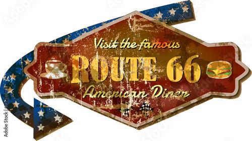 Fototapeta retro Route 66 diner sign, grunge style vector Illustration