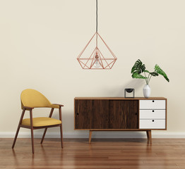Scandinavian design interior with himmeli diamond lamp