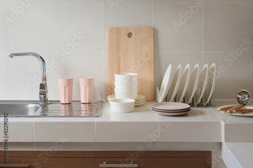 white clean counter in kitchen with utensil at home - 82290242