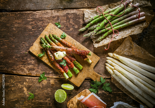 Asparagus Wrapped in Bacon with Raw Ingredients