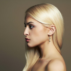 Young blond woman.Beautiful Girl with healthy hair