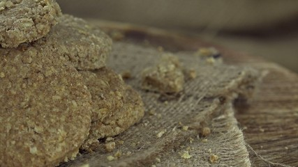 Portion of Oat Cookies (not seamless loopable 4K footage)