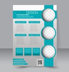 Flyer template. Business brochure. A4 poster blue color.