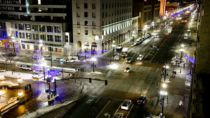 WS T/L Traffic on city road at night/ Salt Lake City, Utah, USA