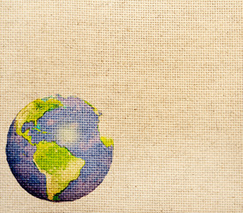 Abstract world map printed on canvas texture