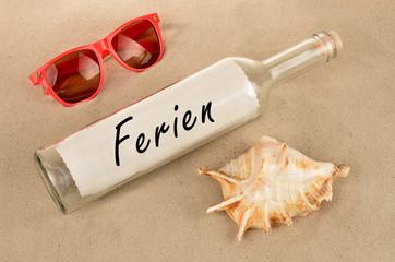 Flaschenpost Ferien mit Sonnenbrille
