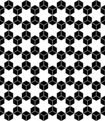 Hexagons and hexagrams seamless pattern.