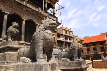 Sculptures of lions, Patan, Kathmandu valley, Nepal