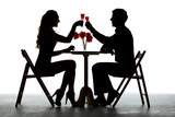Fototapety Couple Having Dinner With Wine Glass On Table