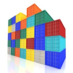 Stacked Colorful Cargo Containers ,3d