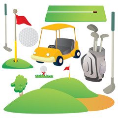 Golf Cartoon Elements