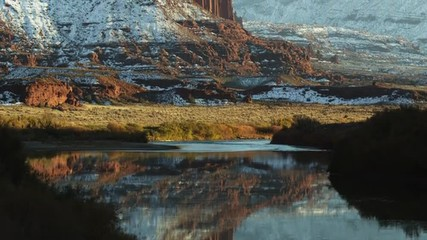 WS TU Reflections of rock formations in lake/ Moab, Utah, USA