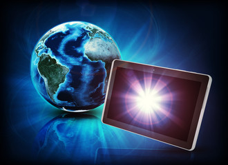 Glowing Earth with tablet on abstract background