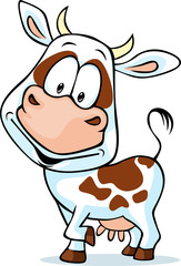 funny cow cartoon - isolated on white background