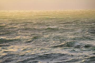 Arctic ocean, cold sun and fog